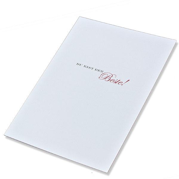 """weiße Grußkarte mit Auftdruck """"Du die bist die Best"""""""
