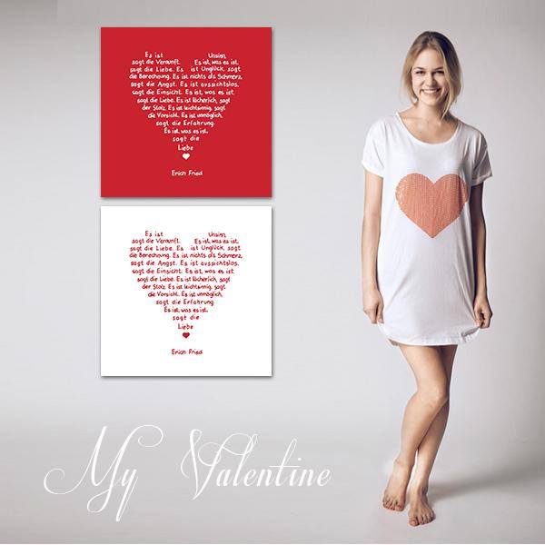 Leinwanddruck mit Liebegedicht von Erich Fried und Nachthemd mit Pailletenherz
