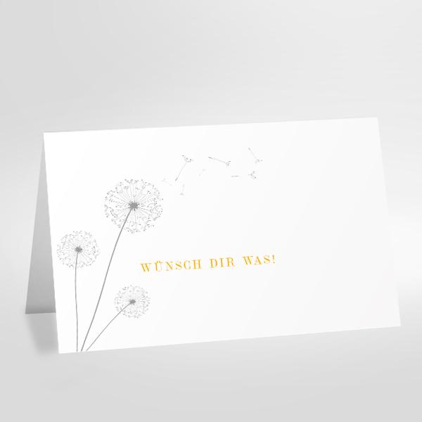 Grußkarte weiß mit Druck in gelb und grau Motiv Pusteblume und Spruch wünsch Dir was