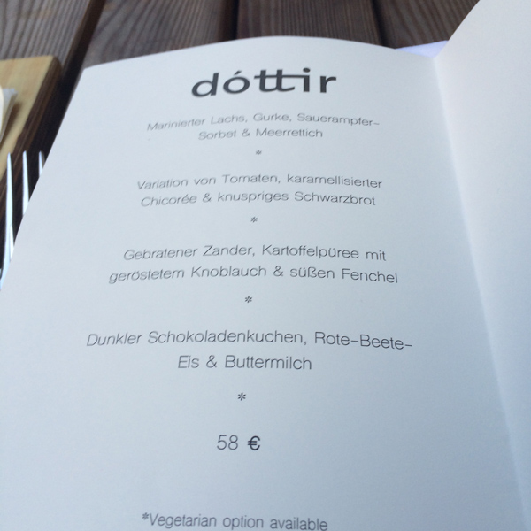 Berlin Restaurant Dottir-Menuekarte
