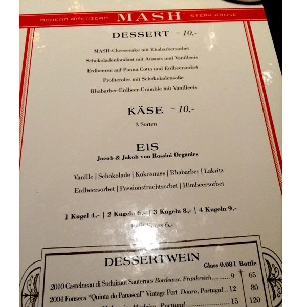 Dessert Karte im Mash