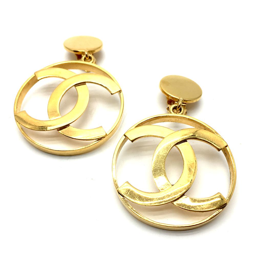 Chanel Ohrringe Vintage mit CC Logo goldfarben